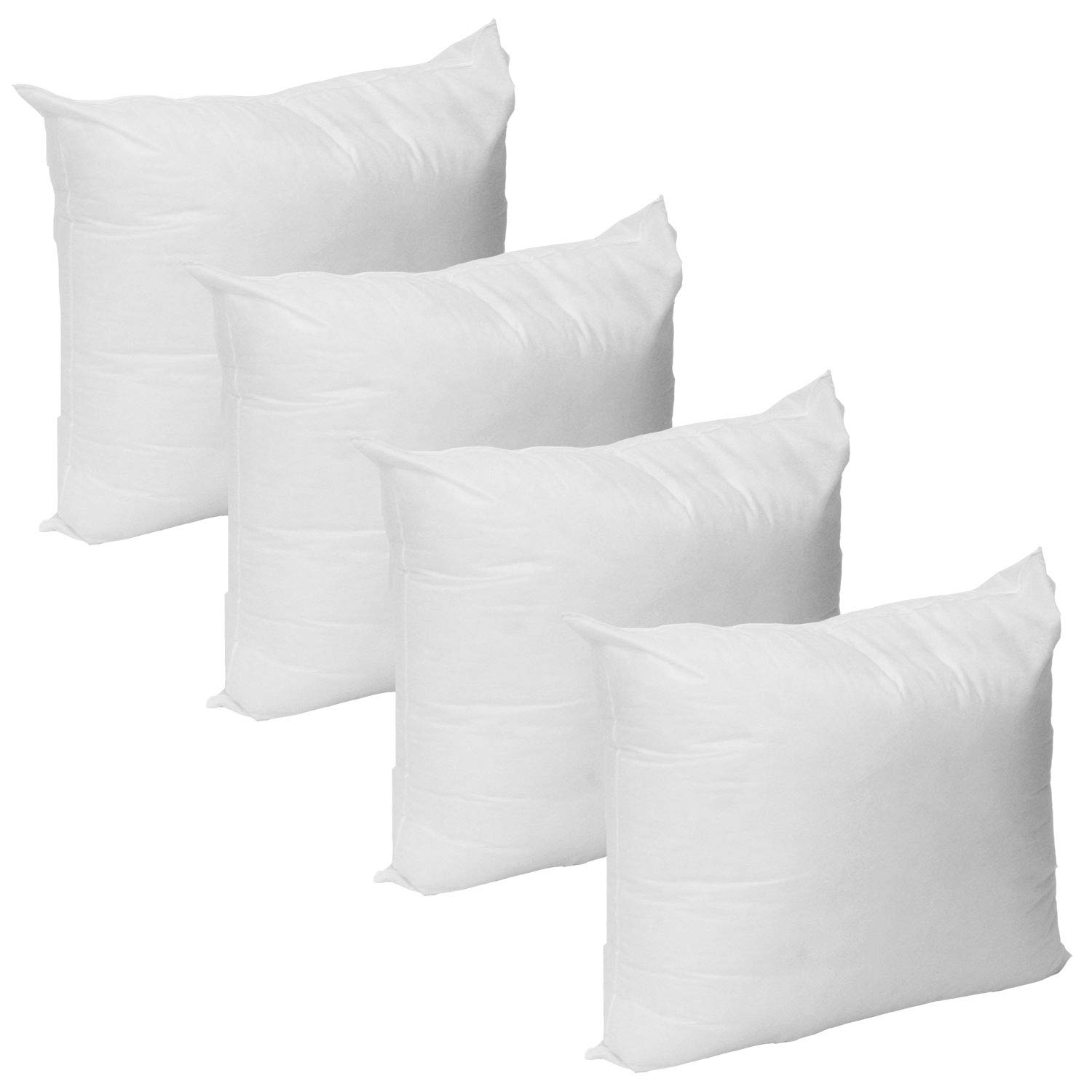 Mybecca Set of 4-18 x 18 Super Premium Hypoallergenic Stuffer Pillow Insert Sham Square Form Polyester, Standard/White - Made in The USA by Mybecca