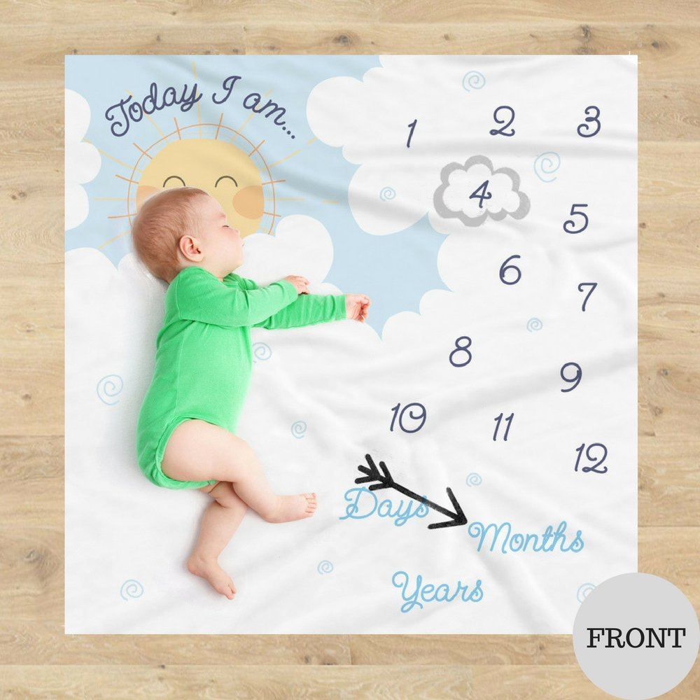 Double Sided Monthly Baby Milestone Blanket- Month Blanket for Baby Pictures | Photo Blanket with Baby Photo Props | Monthly Blankets for Newborns | Baby Boy and Girl Milestone Blanket by Scheuer Brand (Image #2)