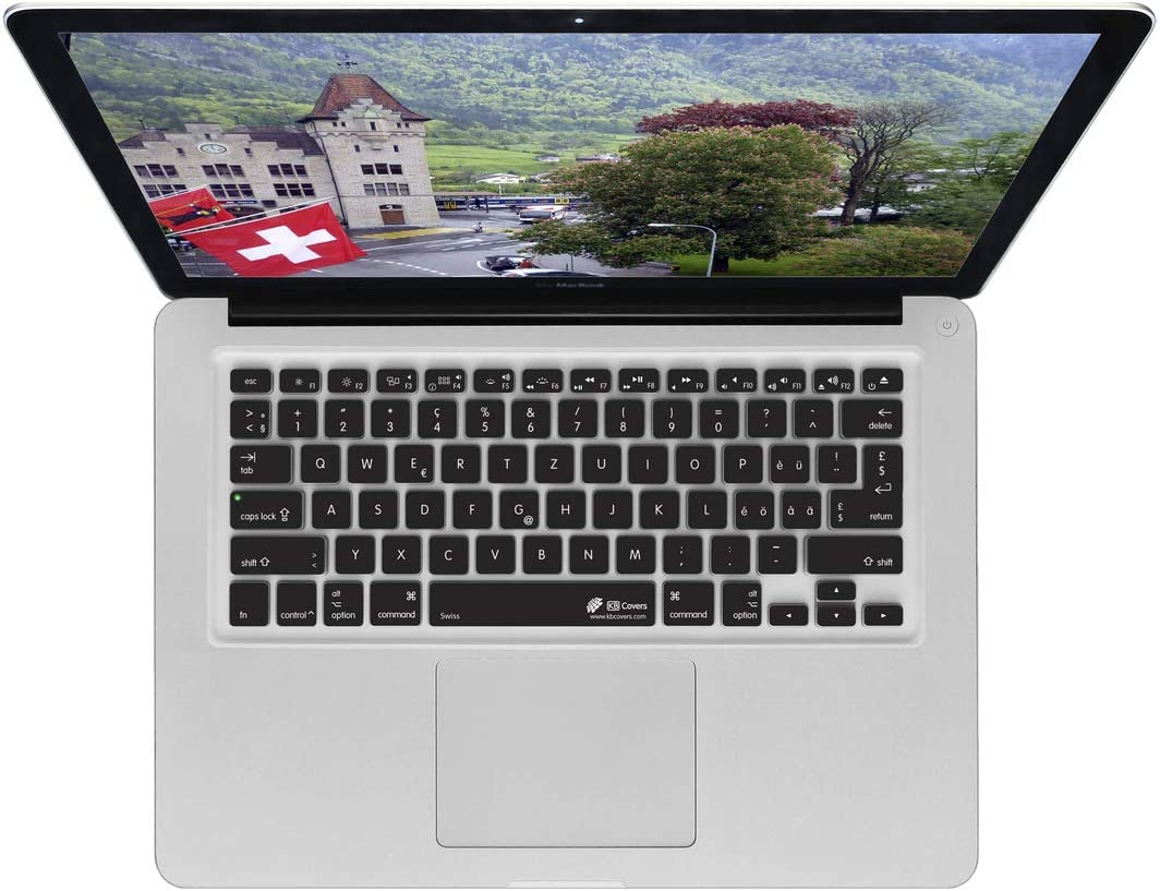 Swiss Keyboard Cover Swiss Layout - Undisturbed Tip Quality and Speed - Soft and Comfortable to Type for MacBook Pro Late 2016+ with w-Touch Bar Black Black Keyboard Cover