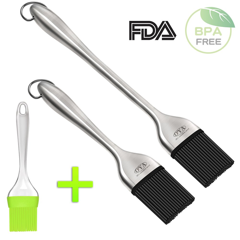 O'YA BBQ Basting Brushes for Grilling Baking Marinating, Food Grade Silicone Brush, Set of 2, with One Free Silicone Pastry Brush