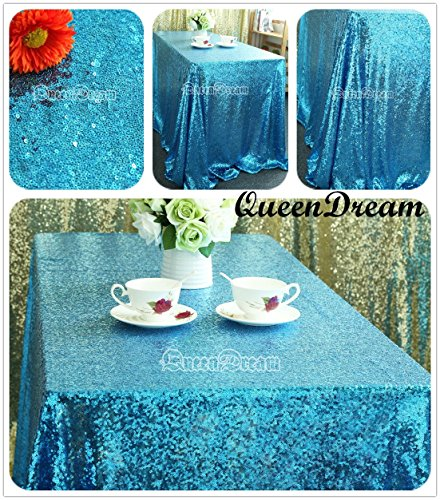 QueenDream Aqua Blue sequin tablecloth 50