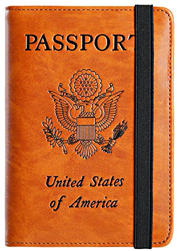 Passport Holder Cover Wallet RFID Blocking Leather Card Case Travel Document Organizer (Earthy - Cover Sim More