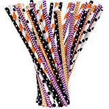 Shappy Halloween Paper Straws Decorative Drinking Straw for Spooky Halloween Party, 125 Pieces, Multi Patterns (Orange, Black, White and Purple)