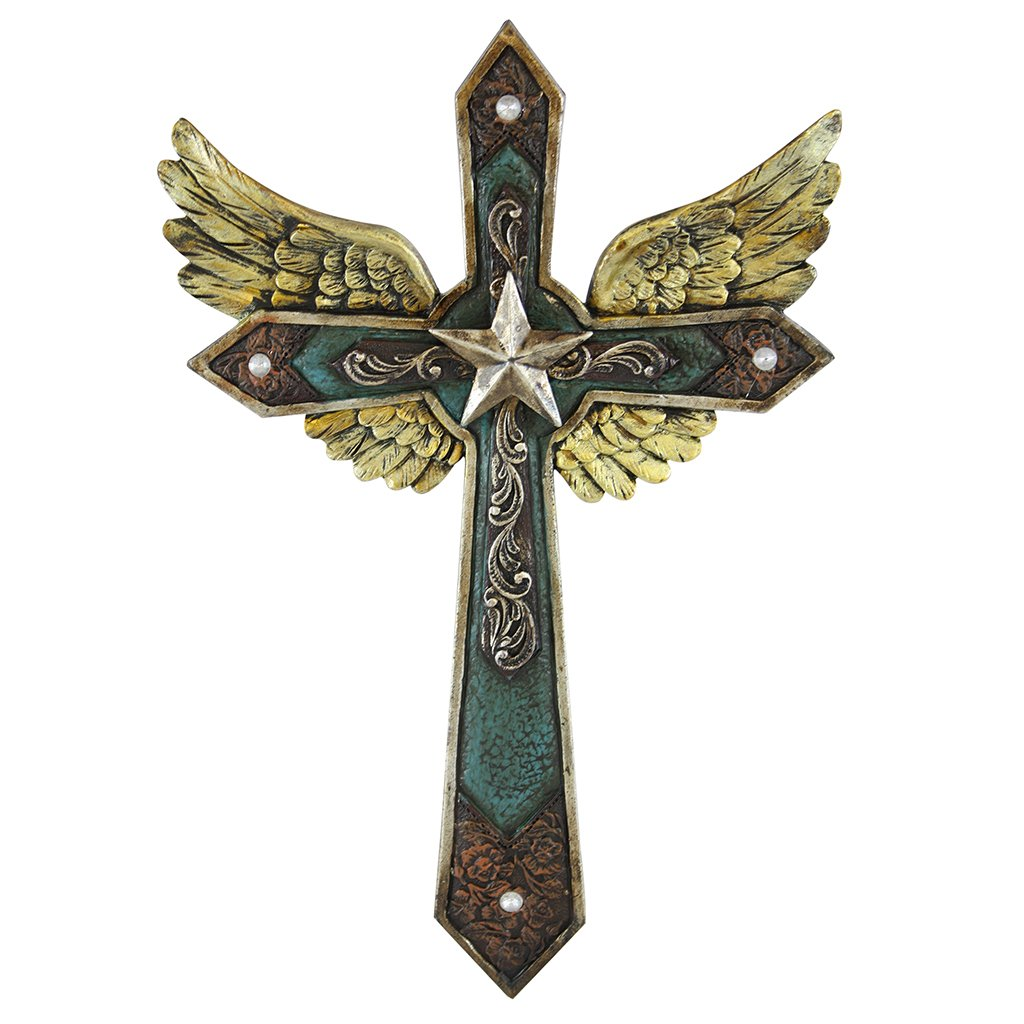 Pine Ridge 10.5 Inches Bronze Star Layered Cross Wings Western Wall Cross with Bronze Star Centerpiece and Golden Angel Wings - Majestic Wall Hanging Crucifix with Embossed Leather and Turquoise Look