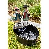Alpine Metal Two Birds on a Tin Fountain, 20 Inch Tall