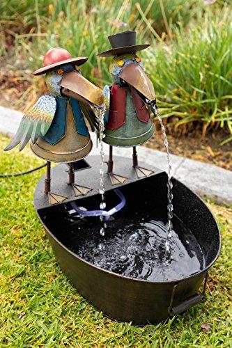 Alpine NCY298 Metal Two Birds on a Tin Floor Fountain, 20 Inch Tall, Multi Color