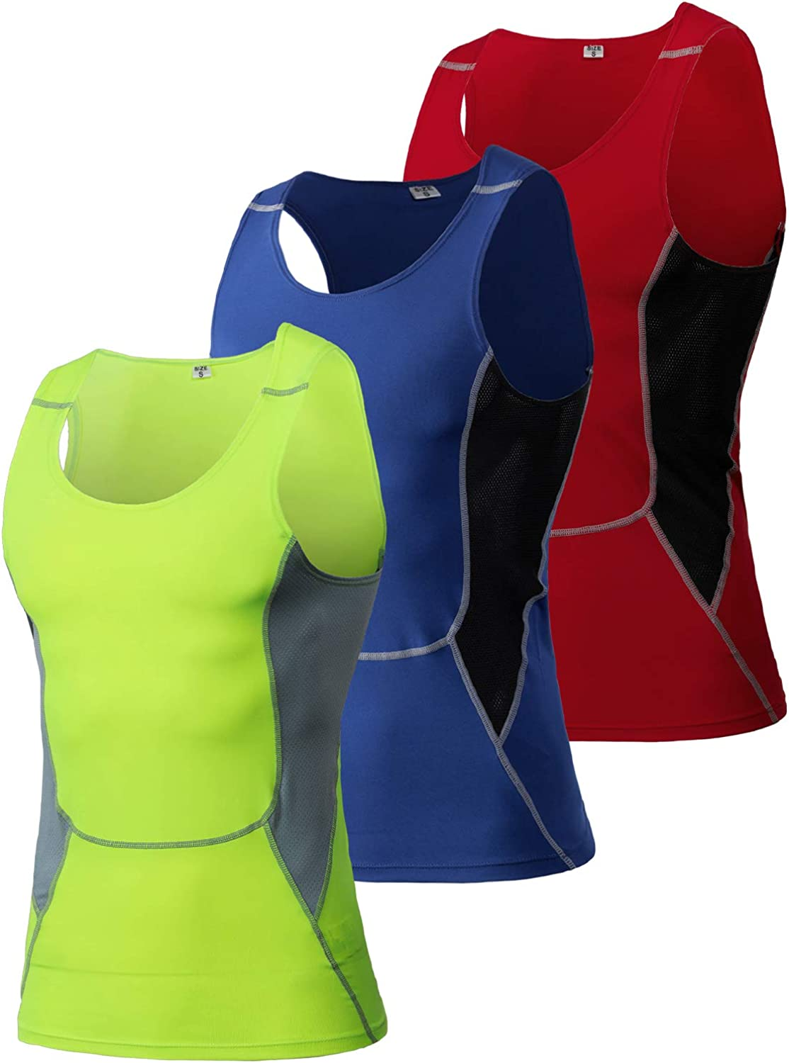 Yuerlian Mens Compression Tank Top Sleeveless Muscle Tank Top Cool Dry Base Layer Sleeveless Sports Tank Top
