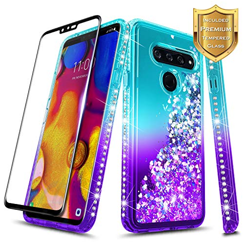 LG V40 ThinQ Case w/[Full Coverage Tempered Glass Screen Protector] NageBee Glitter Liquid Quicksand Waterfall Flowing Sparkle Shiny Bling Diamond Girls Cute Compatible LG V40 ThinQ -Aqua/Purple