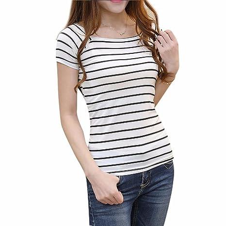 Amazon.com: DondPO Womens Short Sleeve Casual Black and White Strip Blouse Shirts Women Slim Round Neck Short Sleeve Striped T-Shirt Blouse Tops T Shirt ...
