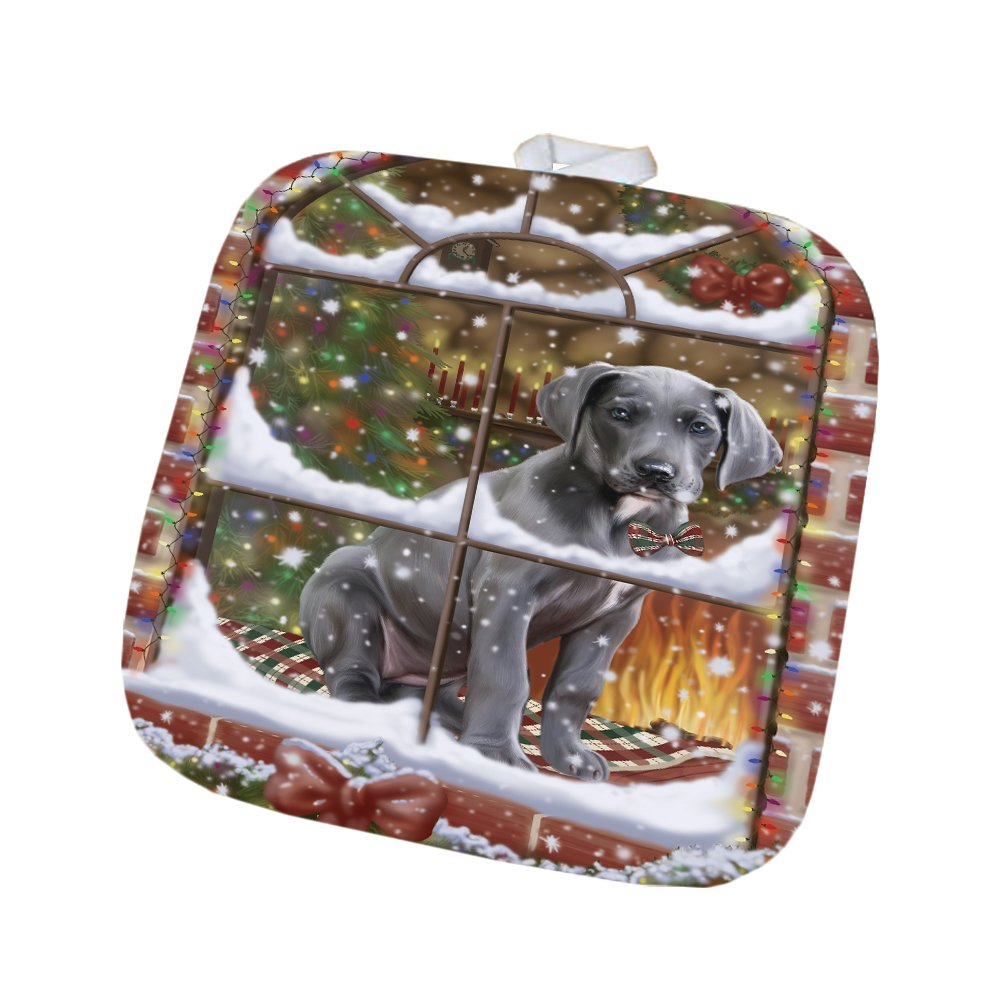 Please Come Home For Christmas Great Dane Dog Sitting In Window Pot Holder POT48396