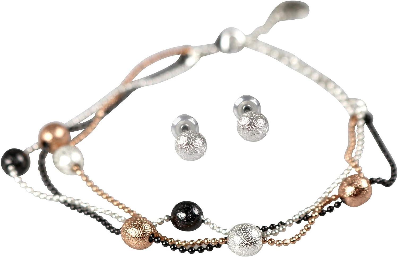 PILGRIM 9311346023 Parure de bijoux avec bracelet et boucles doreilles Argent/é//rose