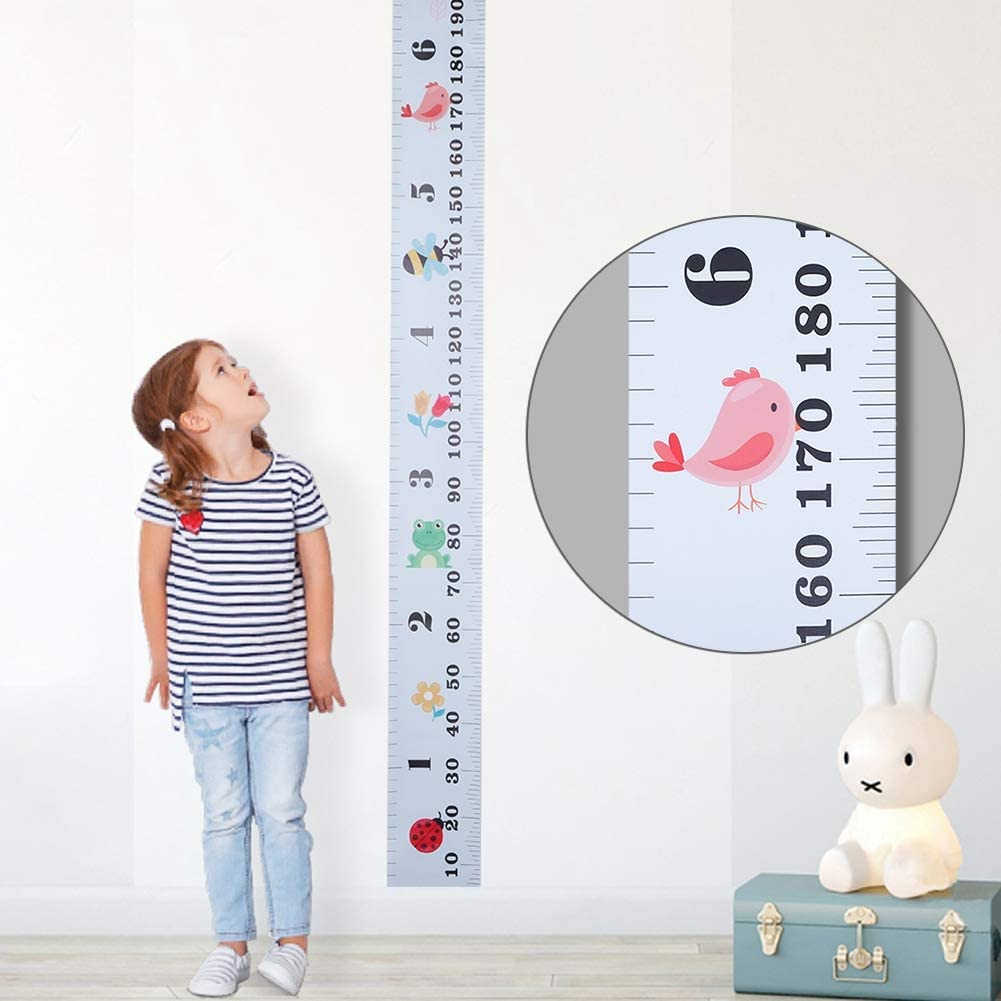 faddy-1 Height Growth Chart,Canvas Wall Hanging Height Measuring Ruler for Kids,Animal Pattern Height Measure Chart for Boys Girls Toddler Nursery,7.9 x 79