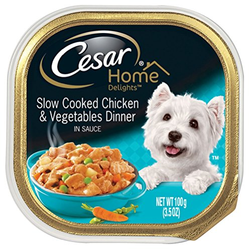 Cesar HOME DELIGHTS Slow Cooked Chicken & Vegetables Dinner in Meaty Juices Dog Food Trays 3.5 Ounce (Pack of 24)