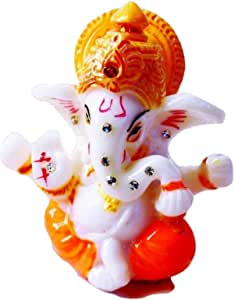 "JB Premium 2.5"" Mini Lord Ganesh/Ganesha Statue Poly Marble Idol. Hindu God of Success (Orange) - For Car/Vehicle dashboard - Small Ganesha Statue - Hindu God Idol - Pocket Ganesh"