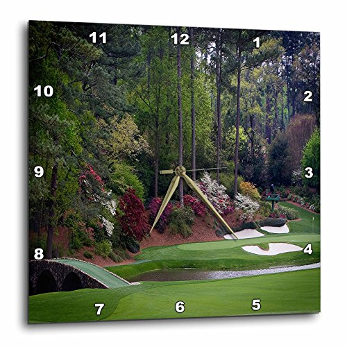 3dRose dpp_131410_3 Augustas Amen Corner Golf Course Golfers on Bridge Wall Clock, 15 by 15