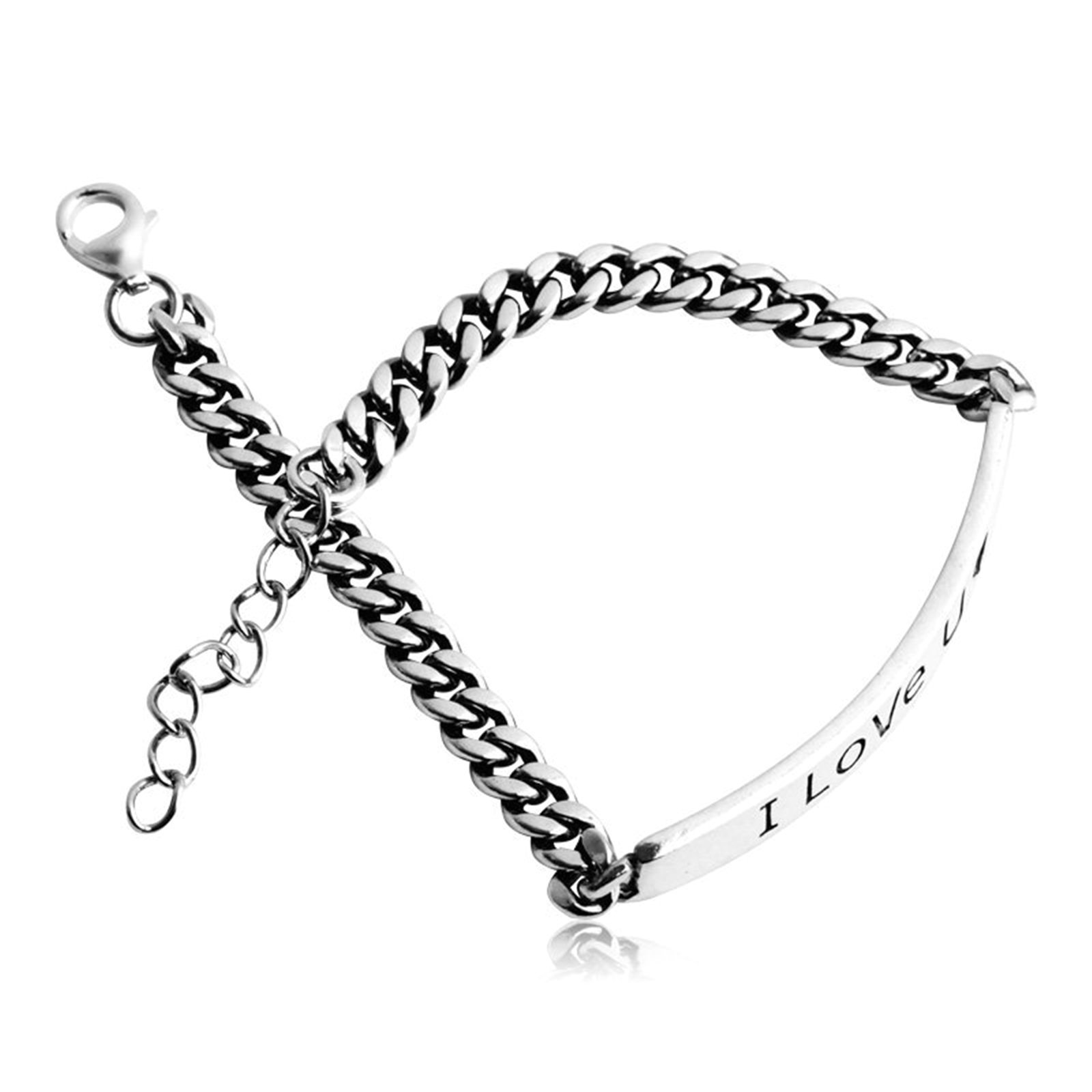 Daesar 925 Silver Bracelet For Women Heart I Love U Bracelet Silver Chain Length:17CM
