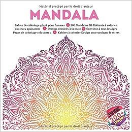 Coloriage Mandala Geant.Amazon Com Mandala Cahier De Coloriage Geant Pour Femmes