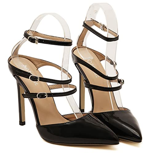 dd35e83d77e eshion Solid Patent Leather Pointed Toe Stiletto High Heel Ankle-Strap  Heels Pumps (EU