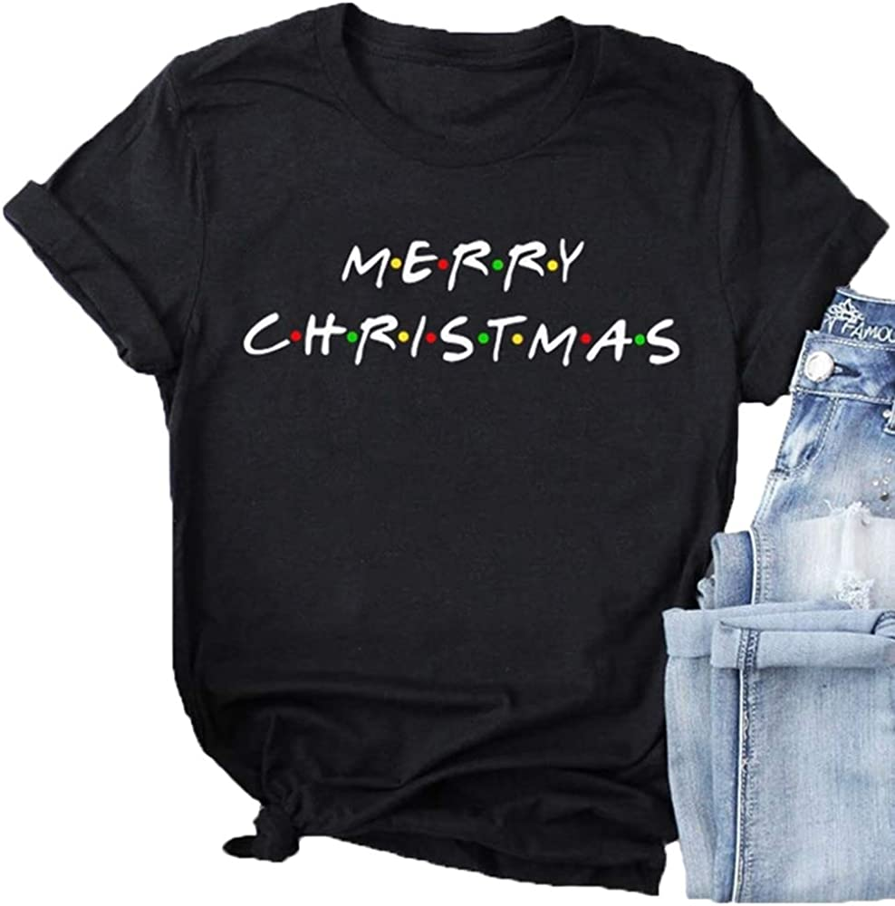 Womens Friends Merry Christmas Shirts Christmas T Shirt Merry Christmas Graphic Tees Tops Blouses