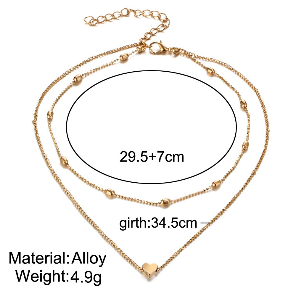 LMYN Womens Necklace Jewelry Heart Multi-Layer Clavicle Necklace Girl Gift