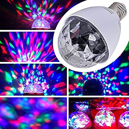 E27  3  W RGB Party Light DJ LED Light Effect Rotating Coloured Light Lights for Christmas Parties Disco Music LED Light, White zhangming®