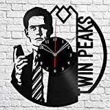 ''Handmade'' Twin Peaks Vinyl Record Wall Clock Fan Art Decor Original Gift Unique Decorative Vinyl Clock Black 12'' (30 cm)