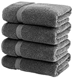 White Classic Luxury Grey Bath Towels Large - Circlet Egyptian Cotton | Highly Absorbent Hotel spa Collection Gray Bathroom Towel | 27x54 Inch | Set of 4
