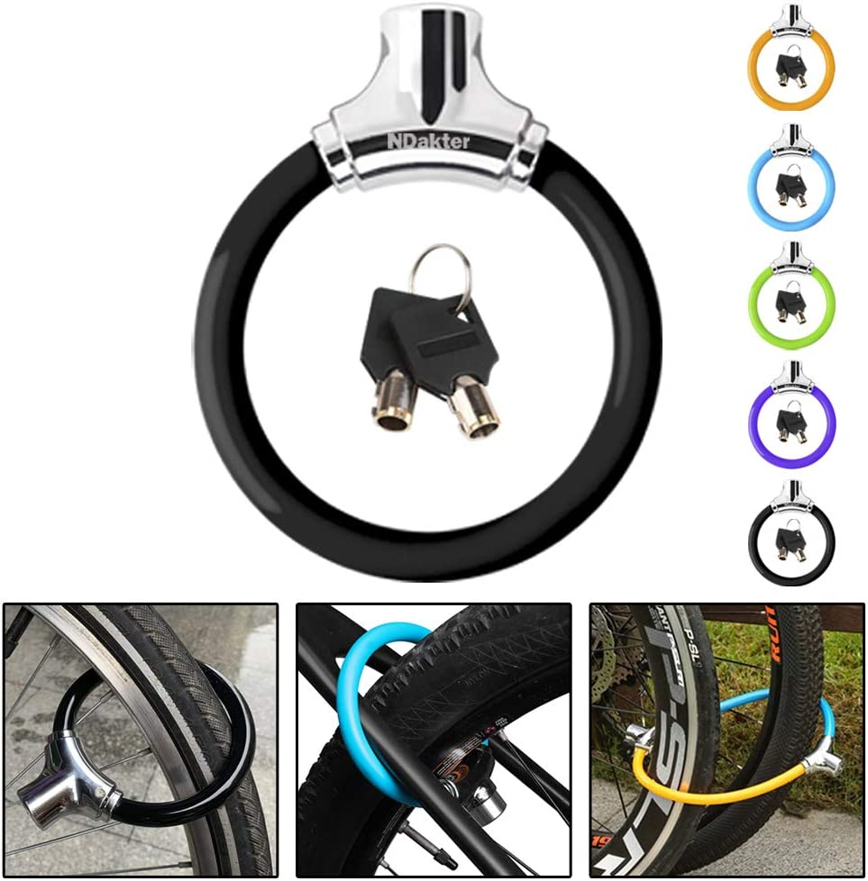 NDakter Bike Lock with 4ft Security Cable, 12mm Anti Theft Kids Bike Lock, Lightweight Unbreakable Bicycle Wheel Locks with 2 Keys for Road Mountain Commute Bike