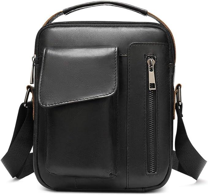 WUSHIYU Mens Messenger Bag Leather Business Work Men Vintage Retro Laptop Briefcase Water Resistent Muti-Function Handbag Shoulder Satchel Messenger Travelling Bag Satchel Shoulder Bag