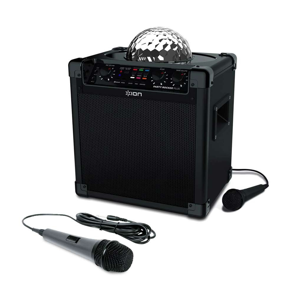 ION Audio Party Rocker Plus   Rechargeable Speaker with Spinning Party Lights & Karaoke Effects with Dynamic Microphone with 10 Ft. Cord