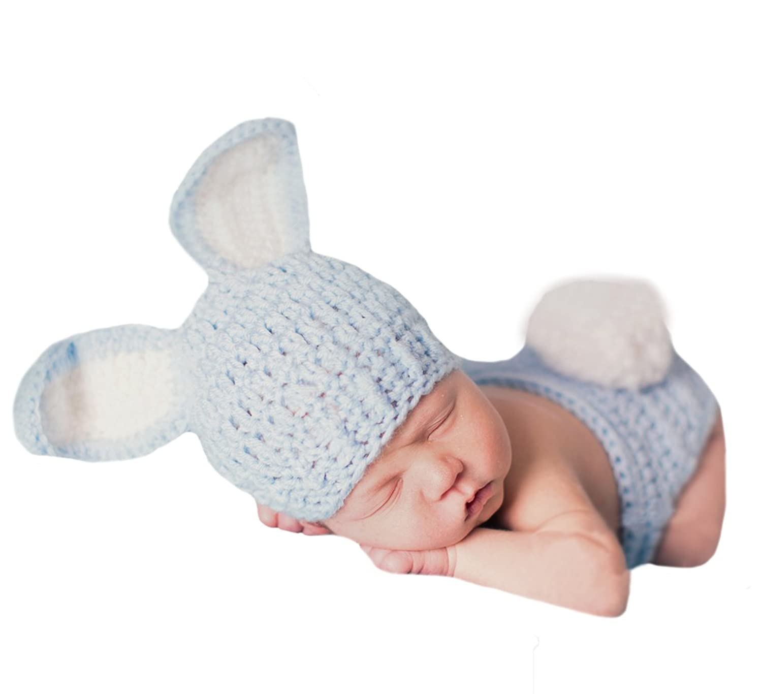 Amazon.com: Melondipity\'s Blue Bunny Crochet Hat and Diaper Cover ...