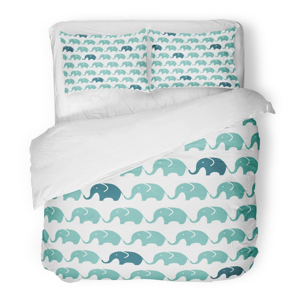 SanChic Duvet Cover Set Colorful Adorable Pattern Blue Grey Elephants Children's Cute Baby Decorative Bedding Set 2 Pillow Shams King Size