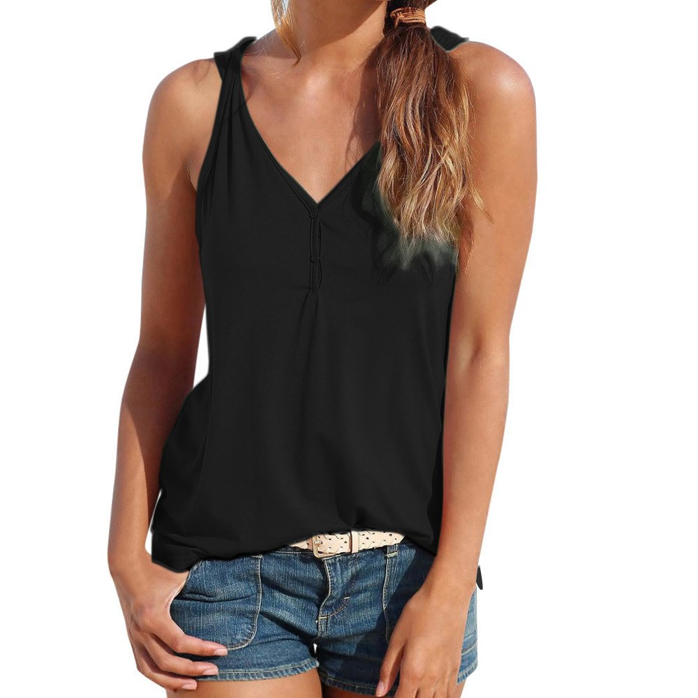 Womens Tank Tops Sleeveless Summer Strappy Vest Casual Elegant Shirt Blouse Tunics Cardigan Camisole Dress Polos Black
