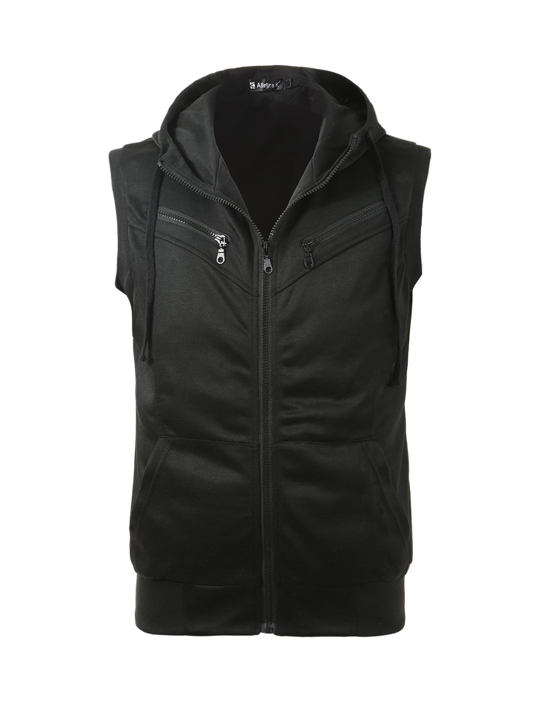 uxcell Men Zip Up Front Pockets Detail Ribbing Hem Leisure Hoody Vest Black M US 38 by uxcell