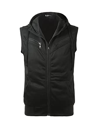 Allegra K Men Kangaroo Pocket Zip Up Drawstring Hooded Vest at ...