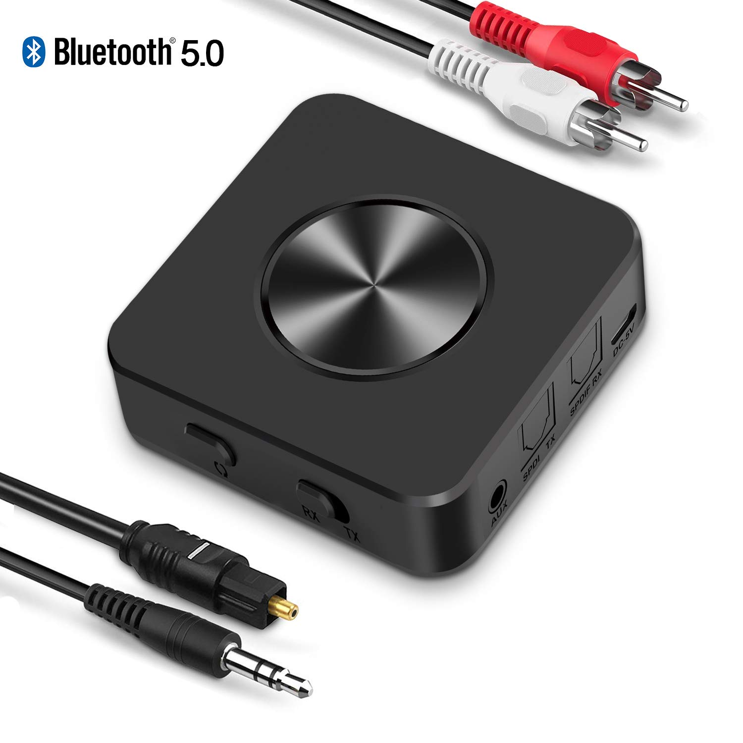 Bluetooth 5.0 Transmitter Receiver for TV BTMAGIC AptX Low Latency Wireless Audio Adapter for Home Stereo Speakers PC Headphones (3.5mm AUX, RCA,Optical, USB), Dual Link by BTMAGIC