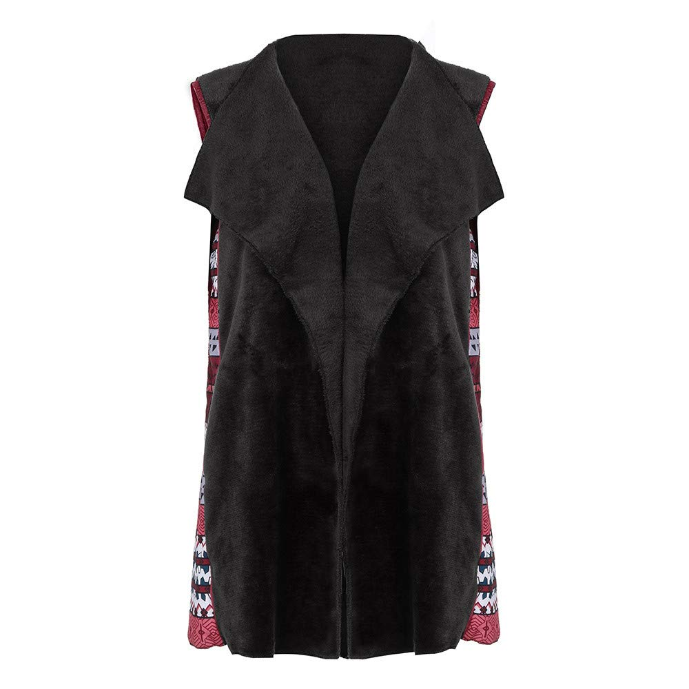 Nadition Women Vest Coat Ladies Sleeveless Print Patchwork Outerwear Parka Casual Winter Loose Coat