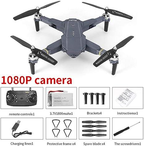 E58 - Dron plegable RC Drone, 4 canales 2,4 GHz WiFi FPV Drone con ...
