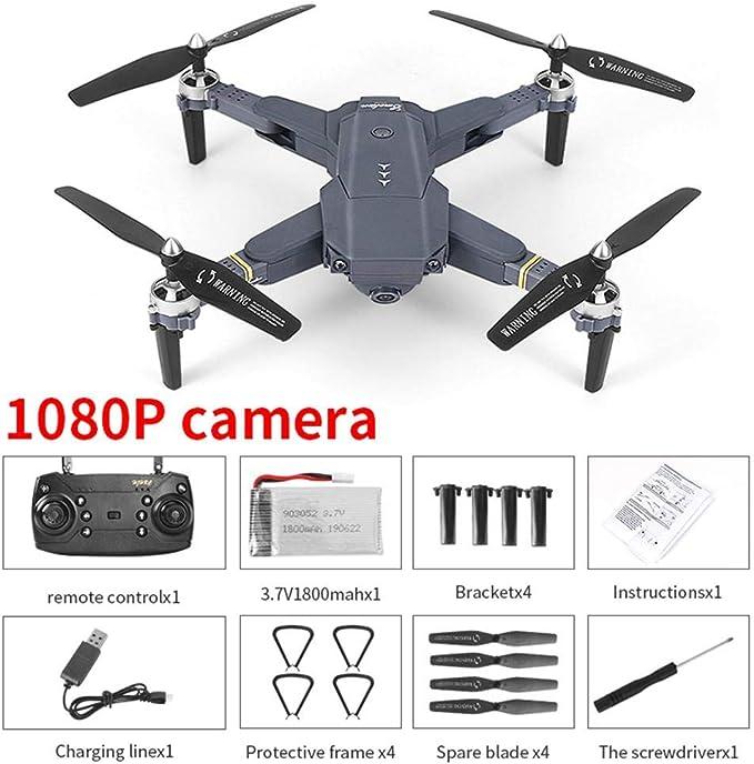 E58 - Dron plegable RC Drone, 4 canales 2,4 GHz WiFi FPV Drone con 120° FOV 1080P HD cámara, RC Quadcopter para adultos y expertos, One Key Take Off/Landing, desplazamiento 3D, App