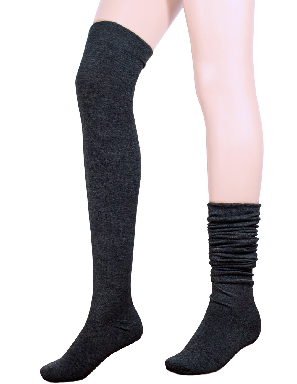 Dahlia Women's Wool Blend Socks - Above the Knee Solid Color - Black