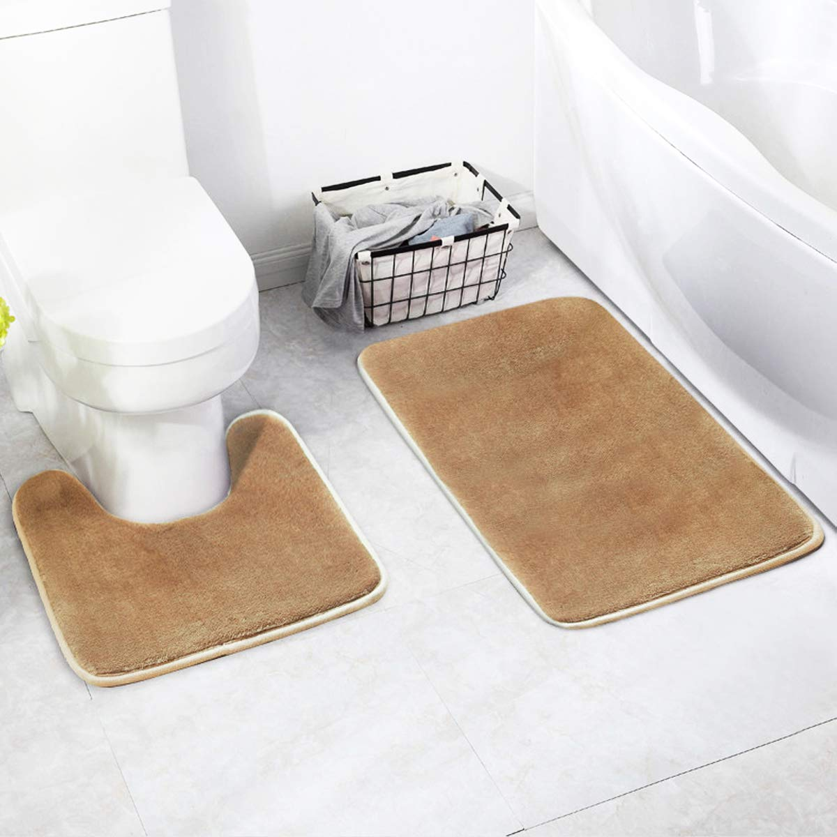 Hapree Bathroom Rug Mat Set 2 Piece Includes Mat Contoured for Toilet and Carpet Rugs, Machine Wash/Dry, Absorbent Memory Foam Bath Rugs for Tub Shower