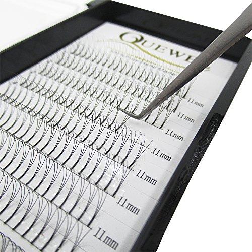 Quewel Lash Russian Volume Eyelash Extensions 3D 0.10 D Curl 11mm Long Premade Fans Volume Eyelashes Soft (3D-0.10-D, 11mm)