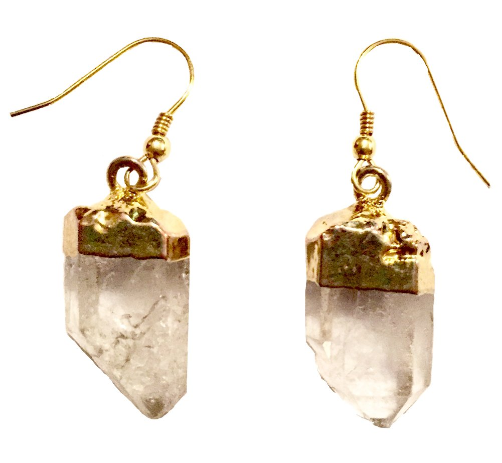Genuine Rough Cut Clear Quartz Stone Drop Earrings (Gold dipped top drop earrings) by Beadscape ~ A Bit of Deja Vu (Image #1)