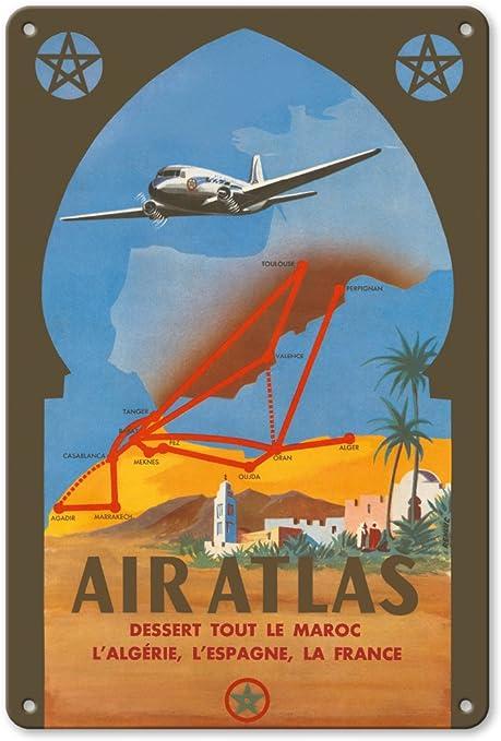 Air Atlas – Póster de postre de Le Maroc, Largelina, LEspagne, La France (servicios de