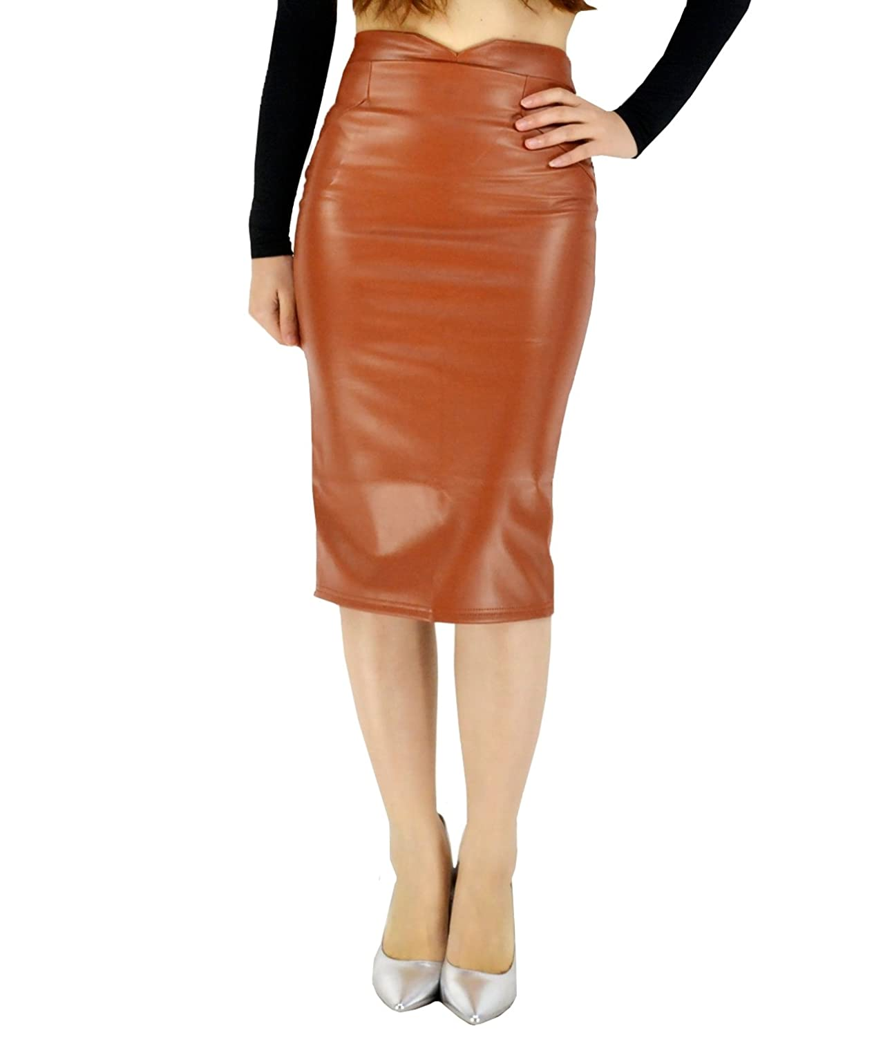 9491349562ed YSJERA Women's PU Leather Stretch High Waist Midi Skirt Bodycon Pencil  Skirts Solid Color at Amazon Women's Clothing store:
