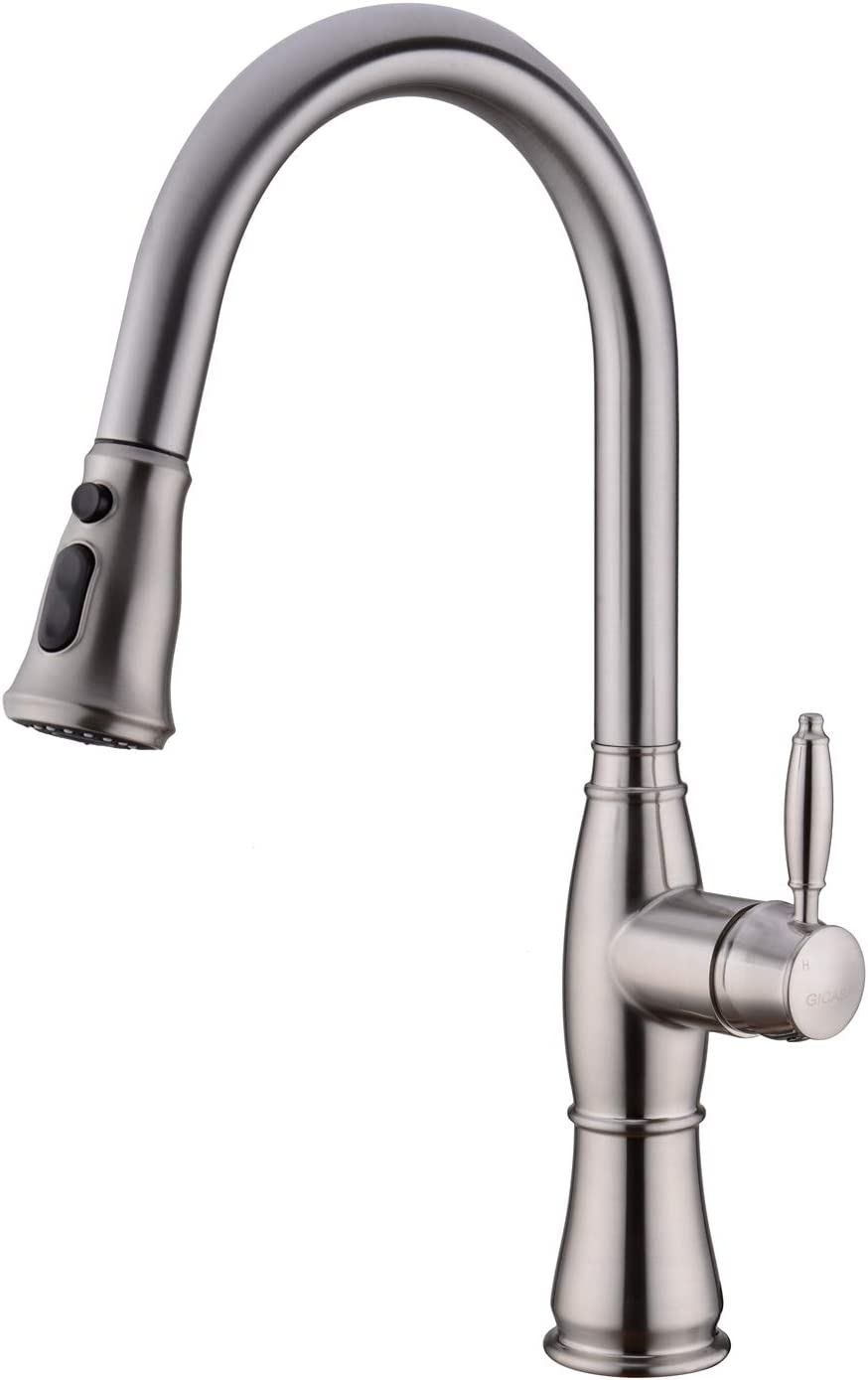 Kitchen Sink Faucet, GICASA Brushed Nickel Single Handle Pull Out Sink Faucet, Stainless Steel Pause Function Sprayer Pull Down Kitchen Sink Faucets