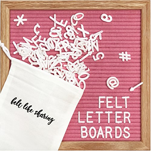 Hot Pink Felt Letter Board 10x10 inches. Changeable Letter Boards Include 300 White Plastic Letters & Oak Frame. by Felt Like Sharing (Image #8)