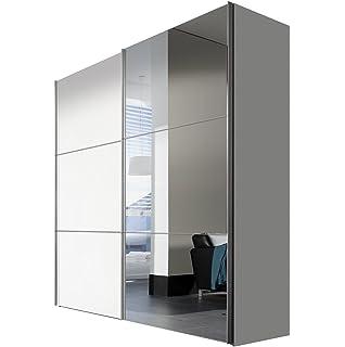 Express Möbel Kleiderschrank Schlafzimmerschrank Weiß Hochglanz 200 Cm Mit  Spiegel, 2 Türig, BxHxT