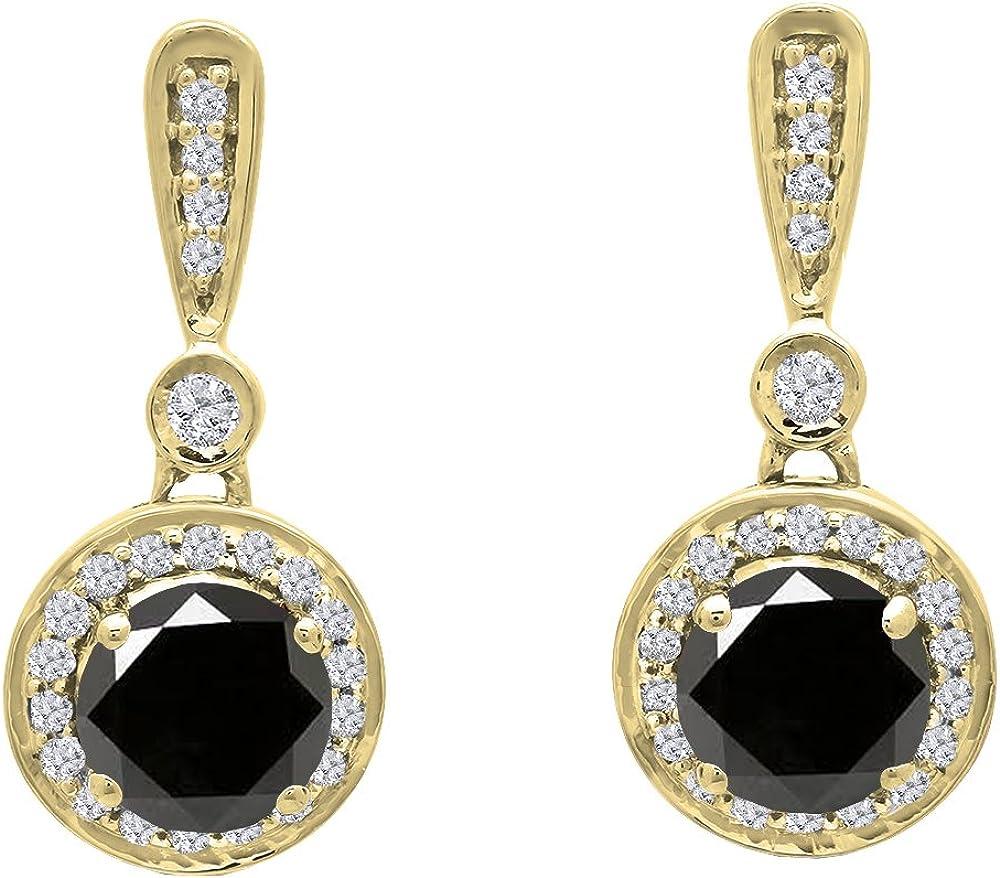 Pendientes colgantes de oro amarillo de 18 quilates de 4,5 mm, cada piedra redonda y diamante blanco para mujer