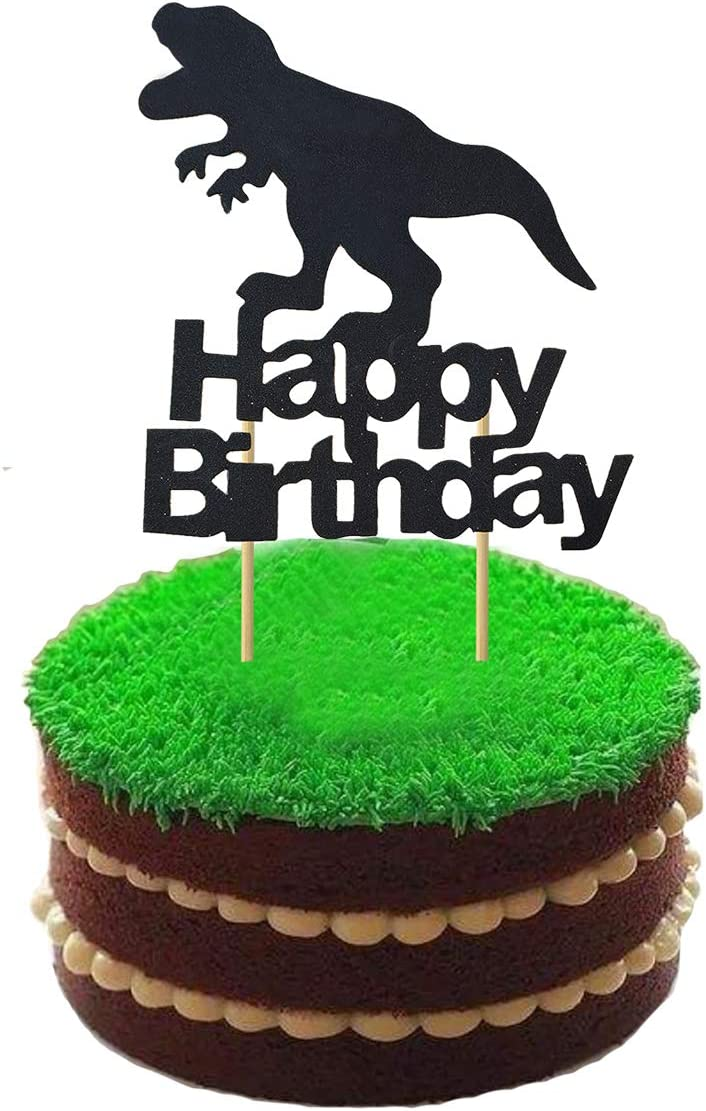 Peachy Amazon Com Ainuioi Dinosaur Cake Topper Dino Jungle Jurassic Personalised Birthday Cards Bromeletsinfo